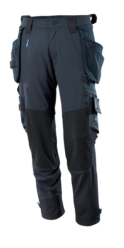 MASCOT® ADVANCED - dark navy - Trousers with Dyneema® kneepad pockets and with detachable holster pockets, four-way stretch, lightweight