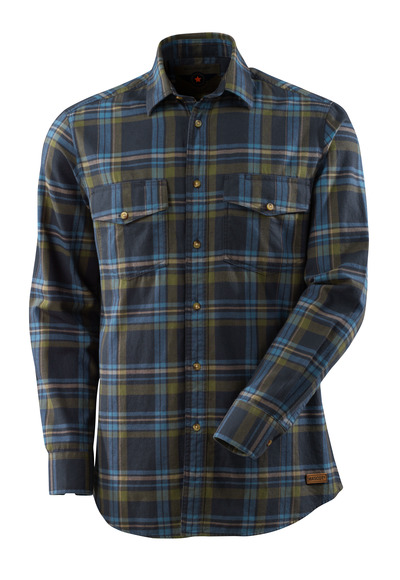 MASCOT® ADVANCED - dark navy/stone blue - Shirt plaid flannel.