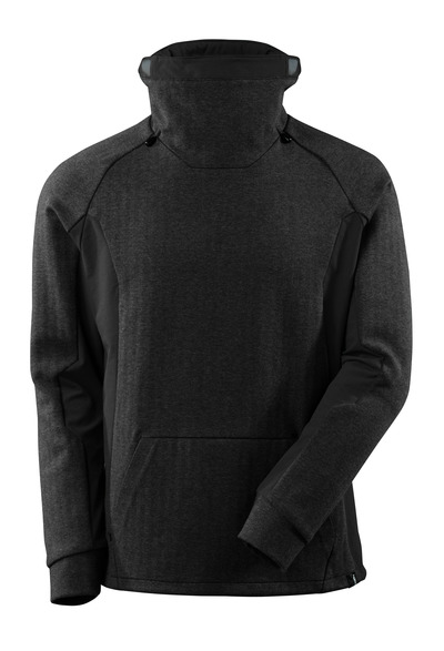 MASCOT® ADVANCED - black-flecked/black - Sweatshirt with high adjustable collar, modern fit