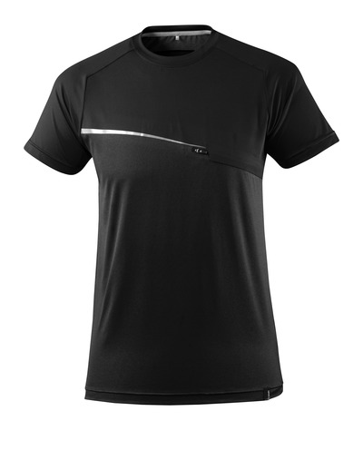 MASCOT® ADVANCED - black - T-shirt with chest pocket, moisture wicking, modern fit