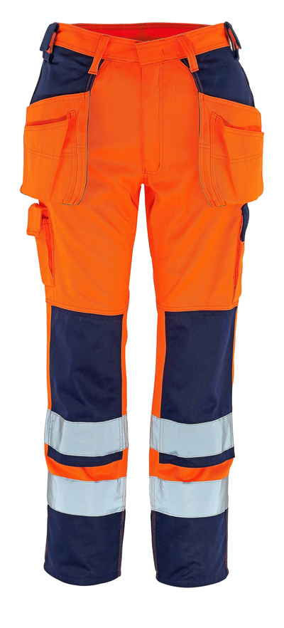 MASCOT® Almas - hi-vis orange/navy - Trousers with kneepad pockets and holster pockets, class 2