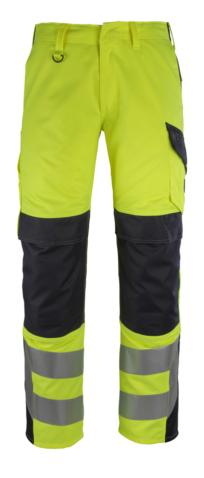 MASCOT® Arbon - hi-vis yellow/dark navy - Trousers with kneepad pockets, multi-protective, class 2