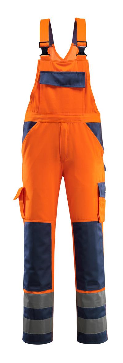 MASCOT® Barras - hi-vis orange/navy - Bib & Brace with kneepad pockets, class 2