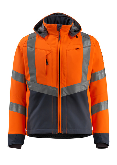 MASCOT® Blackpool - hi-vis orange/dark navy - Softshell Jacket with fleece on inner side, water-repellent, class 3