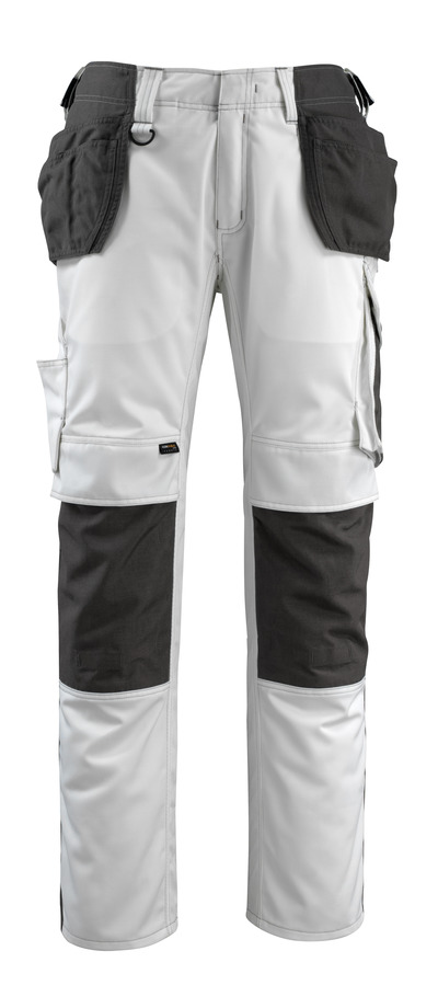 MASCOT® Bremen - white/dark anthracite - Trousers with CORDURA® kneepad pockets and holster pockets, high durability