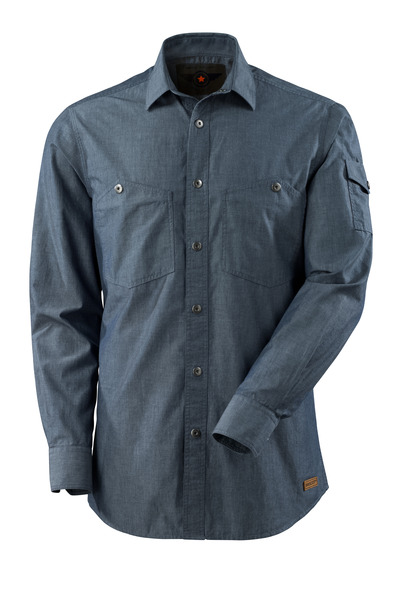 MASCOT® CROSSOVER - washed dark blue denim - Shirt chambray, modern fit