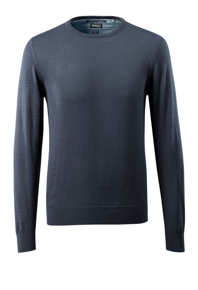 MASCOT® CROSSOVER - dark navy - Knitted Jumper round neck, with merino wool.