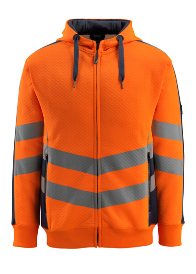 MASCOT® Corby - hi-vis orange/dark navy - Hoodie, waffled texture, modern fit