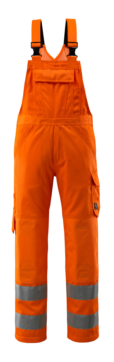 MASCOT® Devonport - hi-vis orange - Bib & Brace with kneepad pockets, one-tone, class 2.