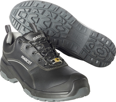 MASCOT® FOOTWEAR FLEX - black - Safety shoe S3 with laces, full grain buffalo leather