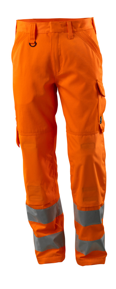 MASCOT® Geraldton - hi-vis orange - Trousers with kneepad pockets, one-tone, class 2.