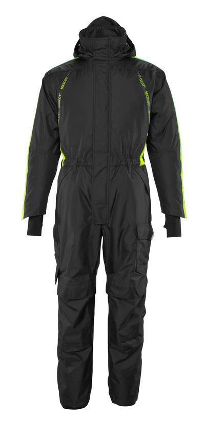MASCOT® HARDWEAR - black/hi-vis yellow - Winter Boilersuit with quilted lining and kneepad pockets, waterproof,  lightweight
