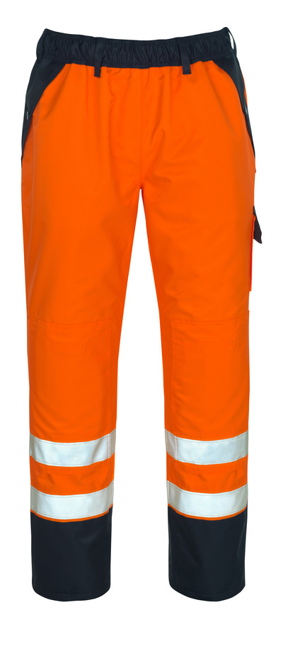 MASCOT® Linz - hi-vis orange/navy - Over Trousers with kneepad pockets, waterproof MASCOTEX®, class 1/2
