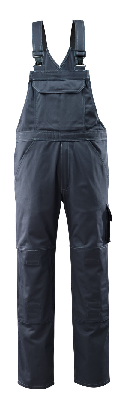 MASCOT® Lowell - dark navy - Bib & Brace with kneepad pockets, cotton