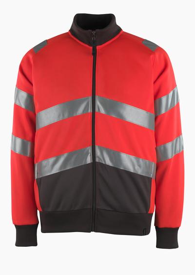 MASCOT® Maia - hi-vis red/dark anthracite* - Sweatshirt with zipper, modern fit, class 2