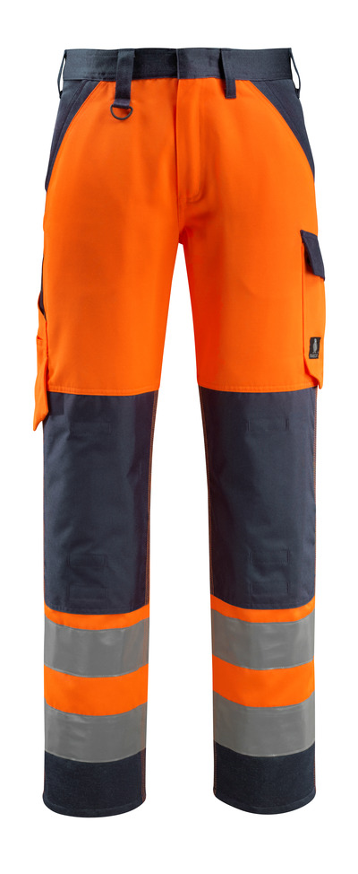 MASCOT® Maitland - hi-vis orange/dark navy - Trousers with kneepad pockets, class 2