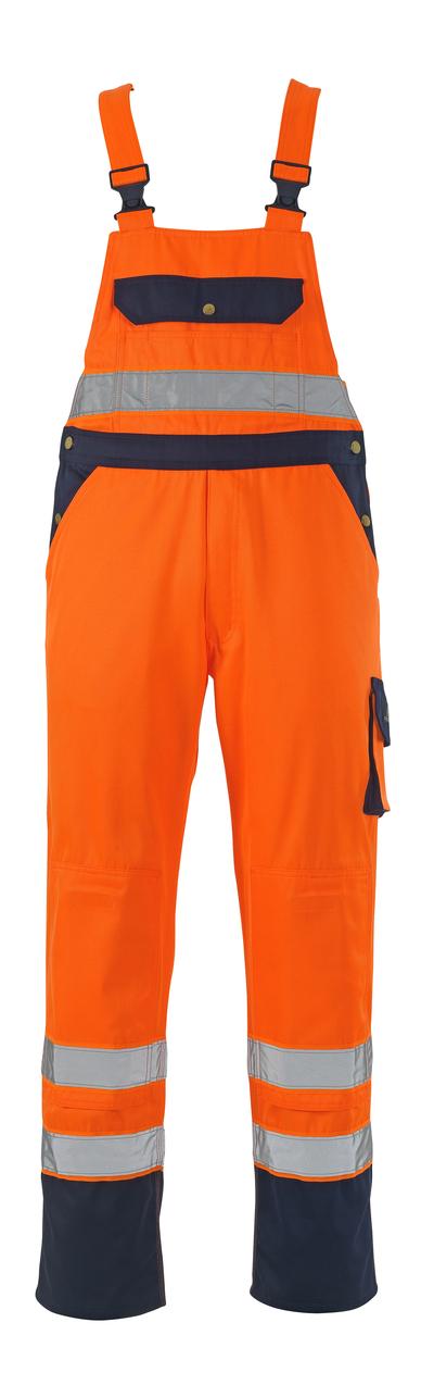 MASCOT® Milano - hi-vis orange/navy* - Bib & Brace with kneepad pockets, class 2/2