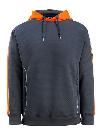MASCOT® Motril - dark navy/hi-vis orange - Hoodie with hi-vis contrast, waffled texture, modern fit