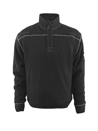 MASCOT® Naxos - black - Knitted Jumper with half zip, lightweight lining
