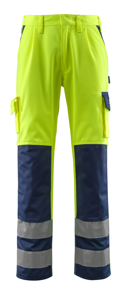 MASCOT® Olinda - hi-vis yellow/navy - Trousers with kneepad pockets, class 2