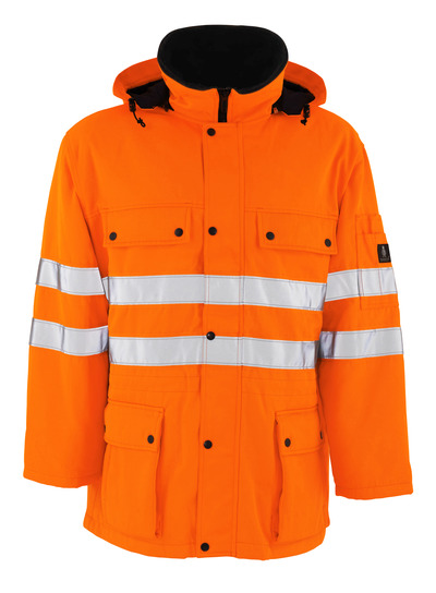 MASCOT® Quebec - hi-vis orange - Parka with quilted lining, water-repellent, class 3/2