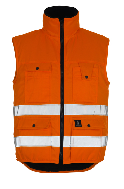 MASCOT® Sölden - hi-vis orange - Winter Gilet with pile lining, water-repellent, class 1