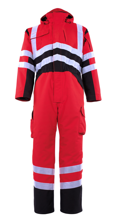 MASCOT® Safara - hi-vis red/dark anthracite - Winter Boilersuit with pile lining, waterproof MASCOTEX®, class 3