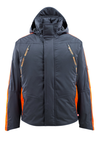 MASCOT® Tolosa - dark navy/hi-vis orange - Winter Jacket with hi-vis contrast, waterproof, highly insulating