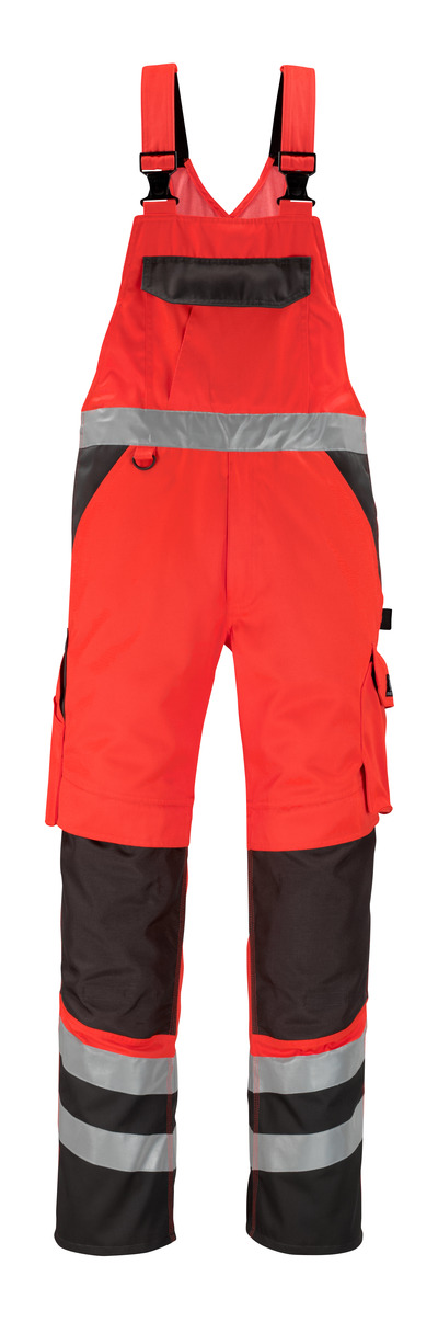 MASCOT® Trofa - hi-vis red/dark anthracite* - Bib & Brace with kneepad pockets