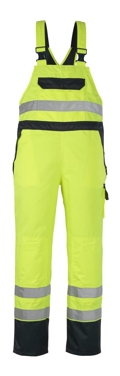 MASCOT® Wels - hi-vis yellow/navy - Bib & Brace Over Trousers with kneepad pockets, waterproof MASCOTEX®, class 2