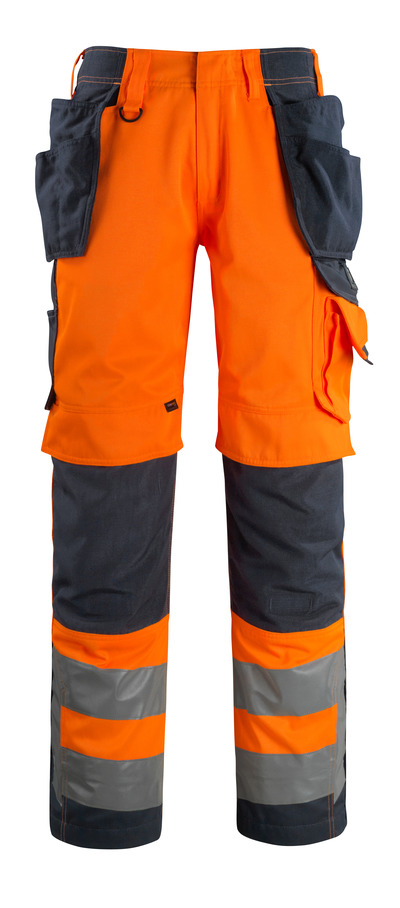 MASCOT® Wigan - hi-vis orange/dark navy - Trousers with CORDURA® kneepad pockets and holster pockets, high durability, class 2