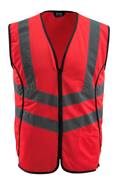 MASCOT® Wingate - hi-vis red - Traffic Vest with zipper, class 2