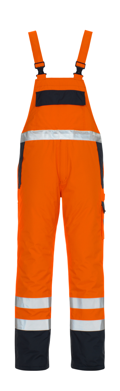 MASCOT® Zug - hi-vis orange/navy* - Bib & Brace with lining, multi-protective, waterproof, class 2/2